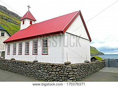 Small church near the sea on the Faroe Islands