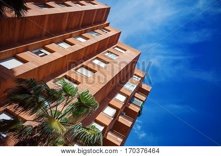 Modern red bricks building in the city center of Barcelona Spain Europe