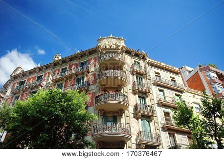 Barcelona Spain building in gothic architecture style