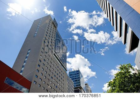 BARCELONA SPAIN MAY 15 2016 - modern buildings in Poblenou district in a sunny and cloudy day