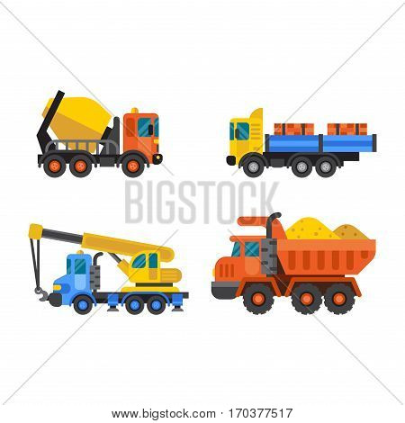 Delivery tipper transportation construction crane vehicle and road machine equipment. Dumper business truck cargo sand container vector illustration.