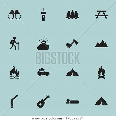 Set Of 16 Editable Travel Icons. Includes Symbols Such As Lantern, Voyage Car, Blaze And More. Can Be Used For Web, Mobile, UI And Infographic Design.