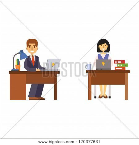 Business people man and woman sitting at office table vector illustration. Portraits of professional portrait community characters. Success occupation person.