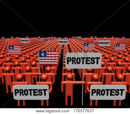 Crowd of people with protest signs and Liberian flags 3d illustration