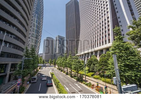 Skyscrapers and trees lining a street in Shinjuku