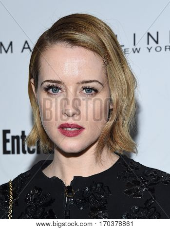 LOS ANGELES - JAN 28:  Claire Foy {Object} arrives to the Entertainment Weekly Pre Sag Awards Celebration on January 28, 2017 in Hollywood, CA