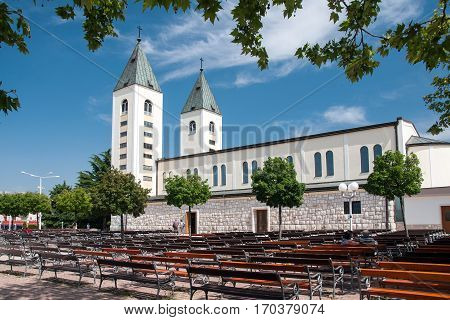 MEDJUGORJE, BOSNIA AND HERZEGOVINA, MAY 12, 2010 - Saint James church of Medjugorje in Herzegovina, where Blessed Virgin Mary appeared to six children in June 1981