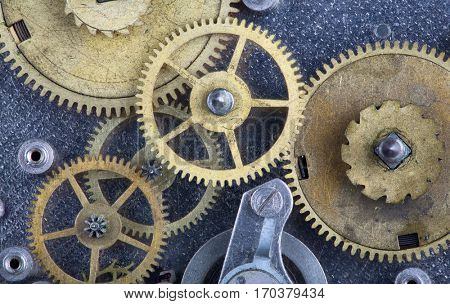 macro photo with group of gears