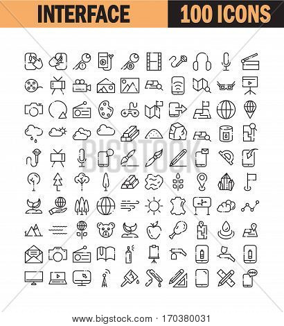 Thin line icon set. Collection of high quality flat icon for web design or mobile app. Interface, construction, phone, plant, tree, painting vector illustration. Resource, cloud,nature icon set.