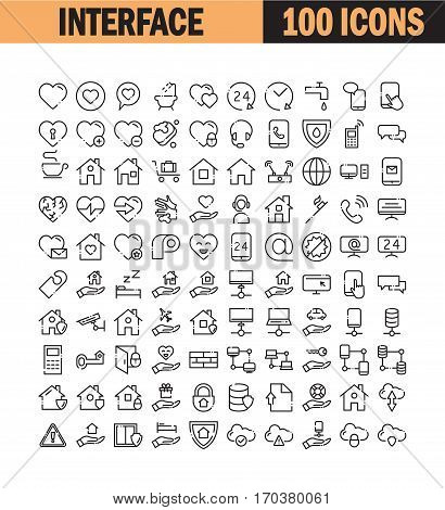Thin line icon set. Collection of high quality flat icon for web design or mobile app. Interface, insurance, bath, hygiene, e-mail vector illustration. Heart, phone, hosting, contact us icon set.