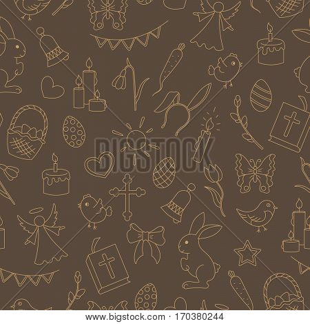 Seamless pattern with simple contour icons on a theme the holiday of Easter beige contours on brown background