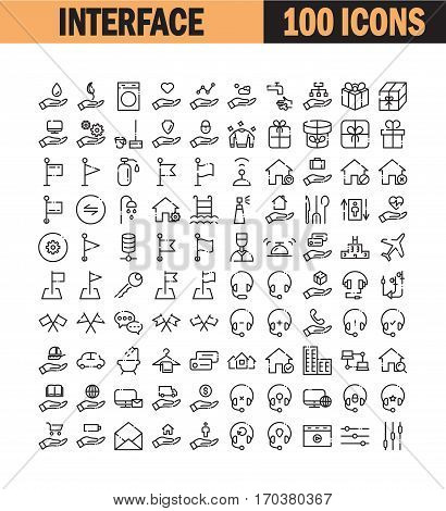 Thin line icon set. Collection of high quality flat icon for web design or mobile app. Interface, insurance, headphones, bell, real estate vector illustration. Web, credit card, flag icon set.