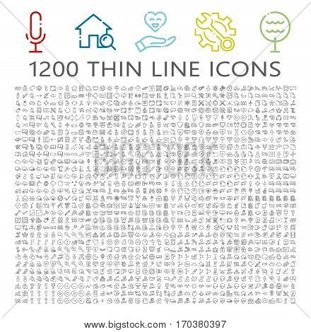 Thin line icon set. Collection of high quality flat icon for web design or mobile app. Interface, nature, office, setting, real estate vector illustration. Insurance, multimedia, e-commerce icon set.