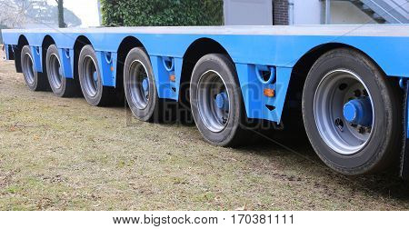 Long Truck Trailer For Exceptional Transport With Many Sturdy Ti