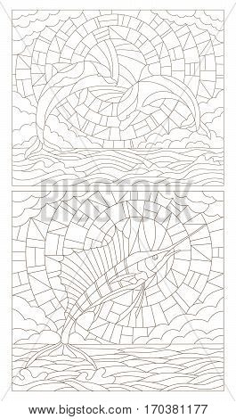 Set contour illustrations of stained glass with dolphins and fish sailboat on the sea background cloud sky and sun