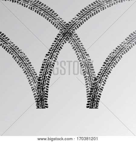 Black tire track silhouettes isolated on gradient background