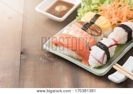 Sushi With Sauce And Wasabi, Japanese Food