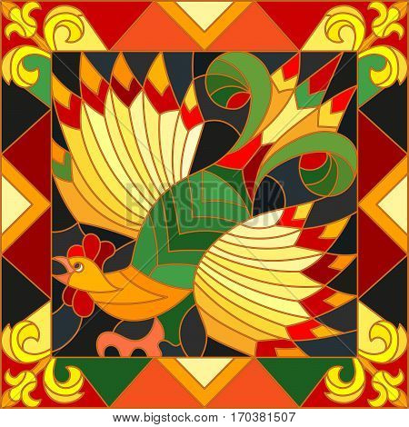 Illustration style stained glass rooster abstract bright frame the imitation of painting Khokhloma