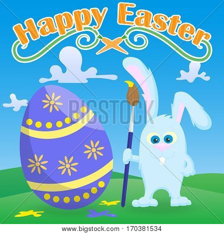 Greeting card for Easter funny cartoon Easter Bunny with paintbrush paint egg on a green lawn and blue sky background and the words Happy Easter