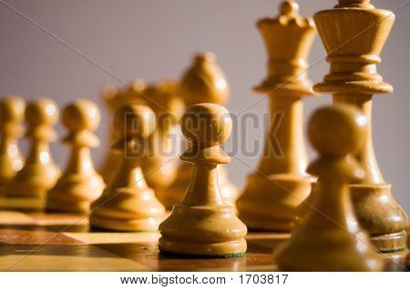 White Staunton Chess Pieces