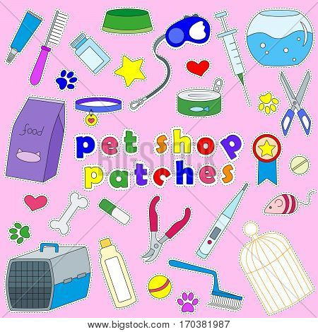 Icons set of patches on the subject of veterinary science and Petsstickers patches on a pink background