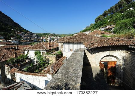 Berat, Albania - 24 June 2014: The old houses of Berat on Albania, unesco world heritage