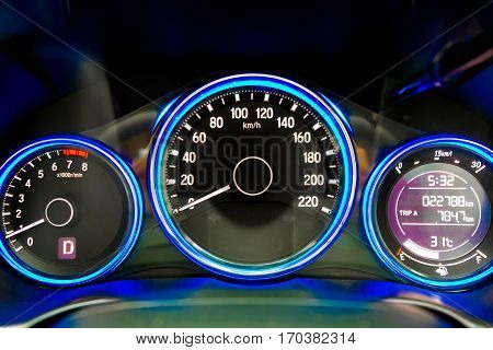Car dashboard modern automobile control illuminated panel speed display