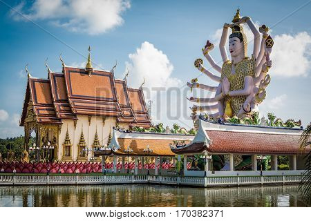 Wat Plai Laem temple with 18 hands Goddess statue (Guan Yin) in Koh Samui Surat Thani Thailand.