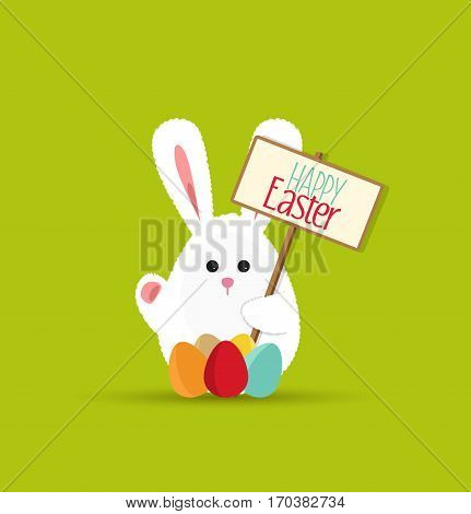 Vector Easter bunny, funny card to a happy Easter
