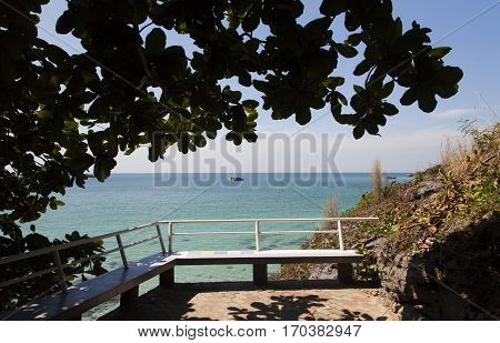 The beautiful sea landscape and attracts to itself and urges to bathe