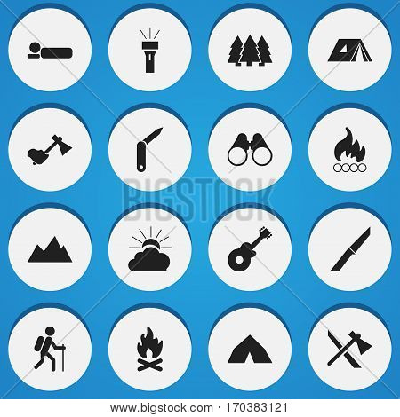 Set Of 16 Editable Camping Icons. Includes Symbols Such As Lantern, Shelter, Musical Instrument And More. Can Be Used For Web, Mobile, UI And Infographic Design.