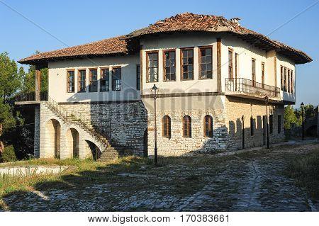 Berat, Albania - 23 January 2014: Old house on the citadel of Kala at Berat on Albania