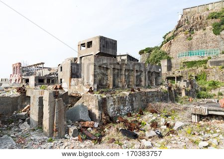 Abandoned Battleship island in Nagasaki city of Japan