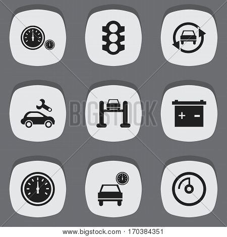 Set Of 9 Editable Car Icons. Includes Symbols Such As Tuning Auto, Stoplight, Speedometer And More. Can Be Used For Web, Mobile, UI And Infographic Design.