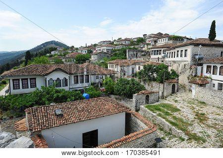 Berat, Albania - 23 January 2014: The citadel of Kala at Berat on Albania