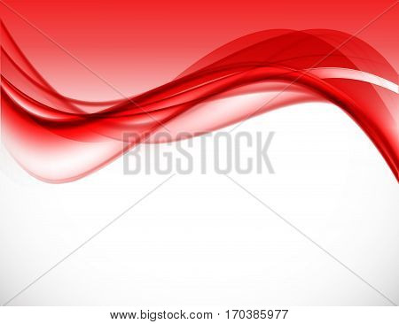 Abstract dynamic wavy design background with red bent lines in soft smooth dynamic style. Vector illustration