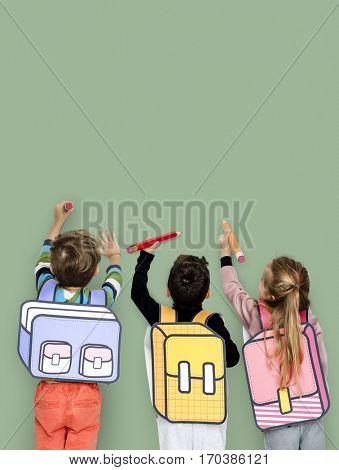 Group of Kids Portrait Classmate School