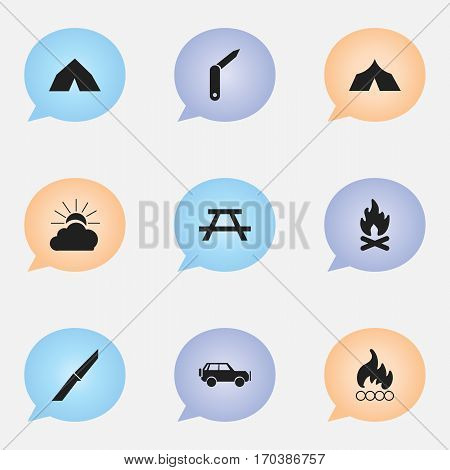 Set Of 9 Editable Travel Icons. Includes Symbols Such As Sunrise, Refuge, Clasp-Knife And More. Can Be Used For Web, Mobile, UI And Infographic Design.