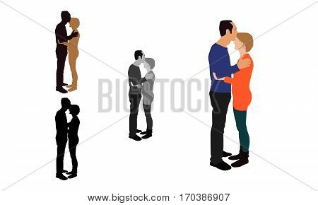Realistic Flat Colored Illustration Of A Man Kissing His Partner From Her Forehead