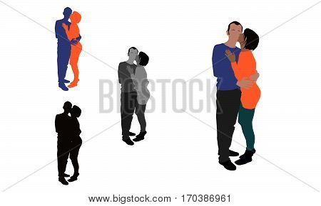 Realistic Flat Colored Illustration Of A Woman Kissing Her Partner From His Cheek