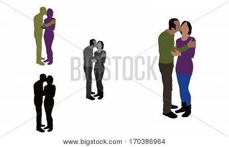 Realistic Flat Colored Illustration Of A Man Kissing His Partner From Her Cheek