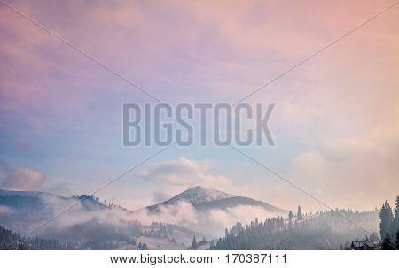 Majestic foggy forest and mountain peak. Pastel and picturesque sunrise pink blue sky. Carpathians, Ukraine, Europe. Beauty worldmountain landscape. Exploring beauty world
