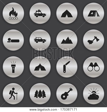 Set Of 16 Editable Travel Icons. Includes Symbols Such As Shelter, Voyage Car, Clasp-Knife And More. Can Be Used For Web, Mobile, UI And Infographic Design.