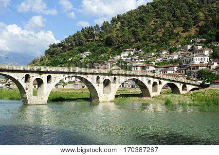 Stone Bridge Over Osum River At Berat