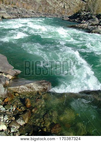 Thresholds of river Chulyshman, Altai Mountains, Russia