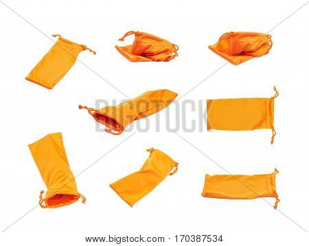 Protection orange pouch bag with the drawstrings isolated over the white background, set of eight different foreshortenings