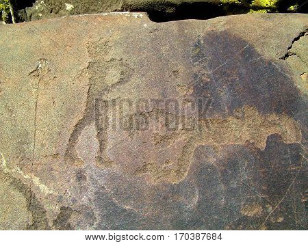 Ancient cave paintings in Altay, Russia Kalbak-Tash