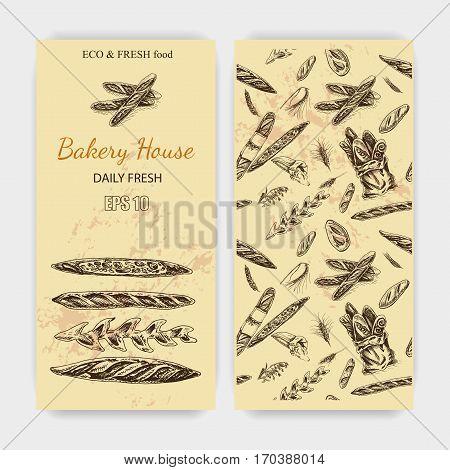 Vector Illustration Sketch - Bakery. Loaf, Baguette, Bread. French Bakery