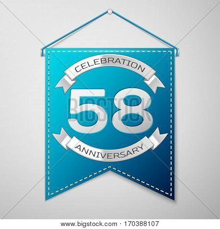 Blue pennant with inscription Fifty eight Years Anniversary Celebration Design over a grey background. Silver ribbon. Colorful template elements for your birthday party. Vector illustration