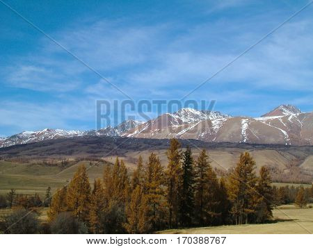 Mountain peaks in the Altays in the morning, Russia